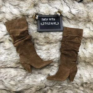Saks fifth brown suede roll pointy chunky boot